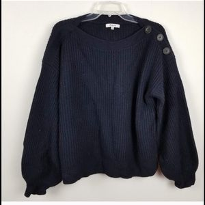 MADEWELL merino wool bubble sleeve sweater buttons